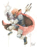 Scanned image of an original watercolor painting of Ganon by Geoff Pascual