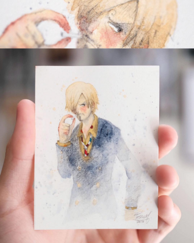 Watercolor paint study of Sanji from the anime One Piece by Geoff Pascual