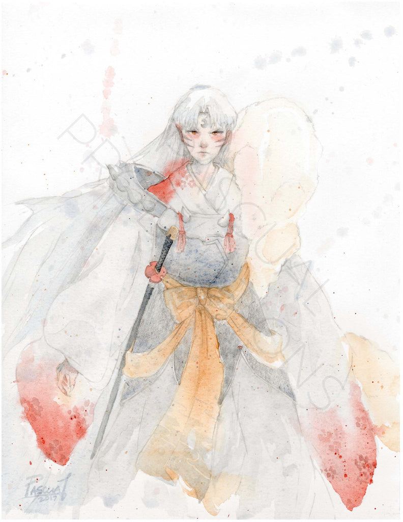 Geoff Pascual sesshomaru inuyasha watercolor art print