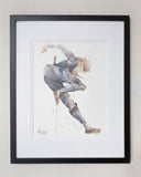 Framed watercolor painting of Sheik from Legend of Zelda painted by watercolor artist Geoff Pascual