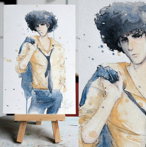 Watercolor paint study of Spike from the anime Cowboy Bebop by Geoff Pascual