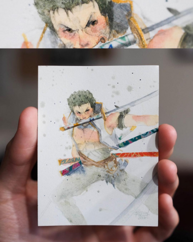 Watercolor paint study of Zoro from the anime One Piece by Geoff Pascual