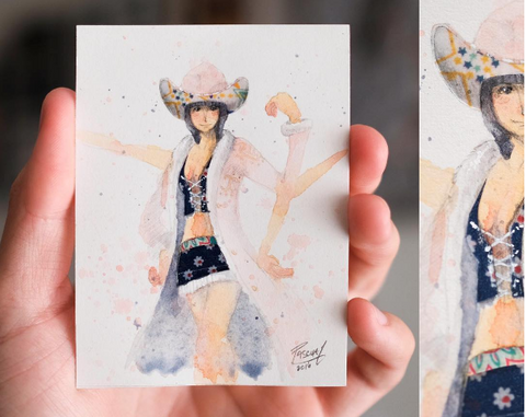 Watercolor paint study of Nico Robyn from the anime One Piece by Geoff Pascual