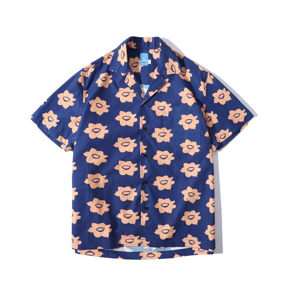 GLUE Daffodil Flower Poplin Shirt Jacket - Navy