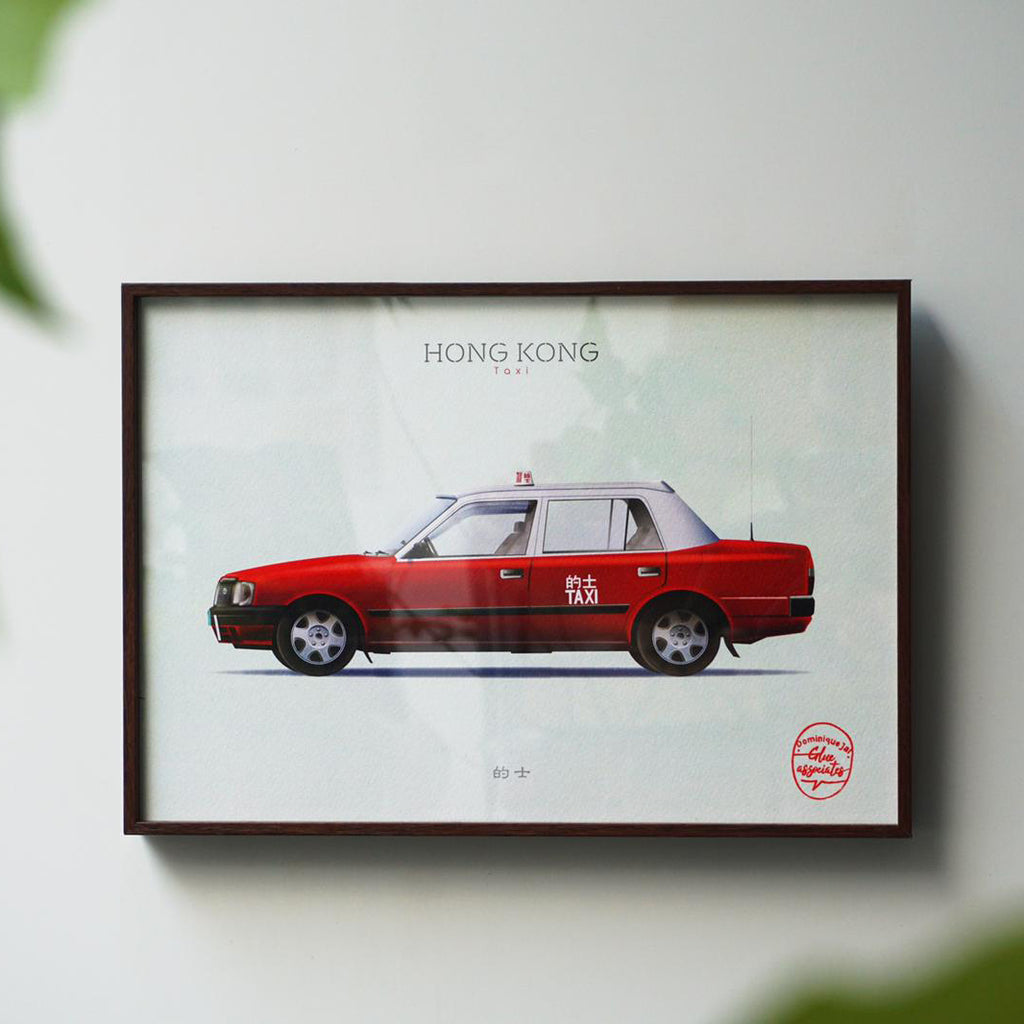 Hong Kong Transportation Picture with Frame - Red Taxi