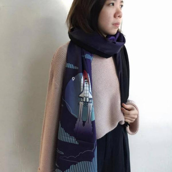 Fly Me to the Moon - Two-Side Wool Scarf