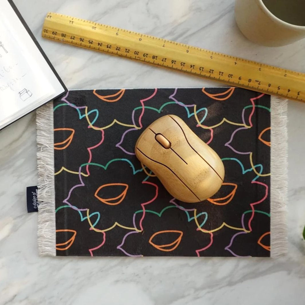 GLUE Black Neon Narcissus Mousepad