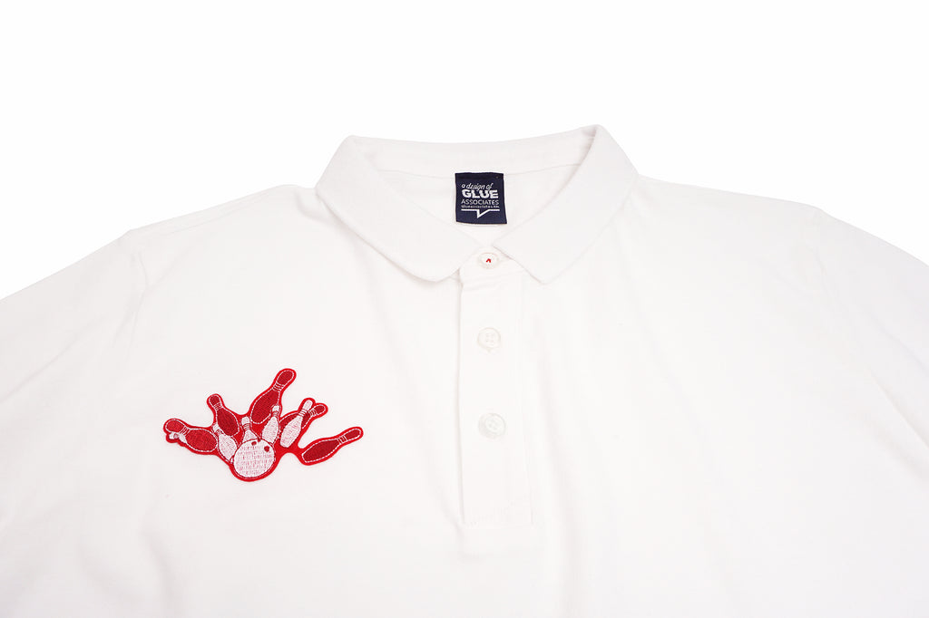GLUE Seamless Polo Shirt with Bowling - White