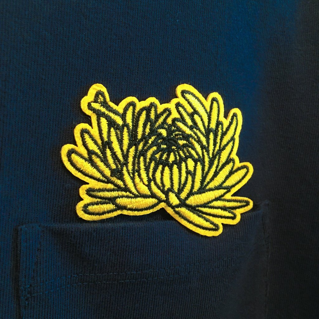 Seamless T-shirt with Pocket and Chrysanthemum Embroidery - Navy