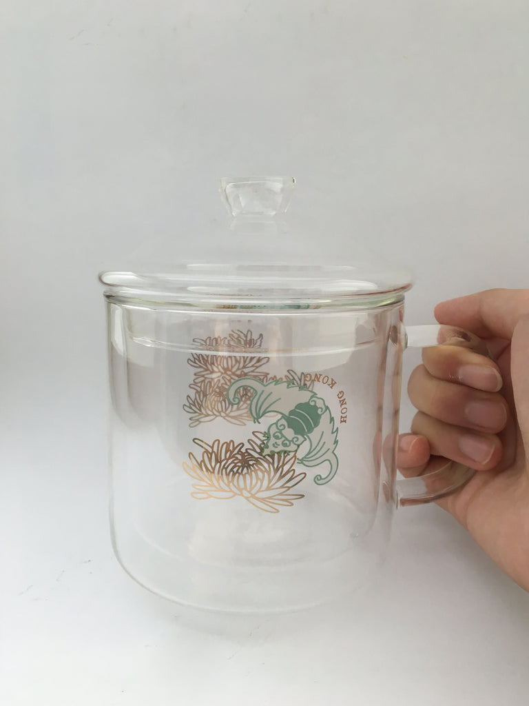 Heat Resistant Double Layer Glasses Mug - Bat with Chrysanthemum
