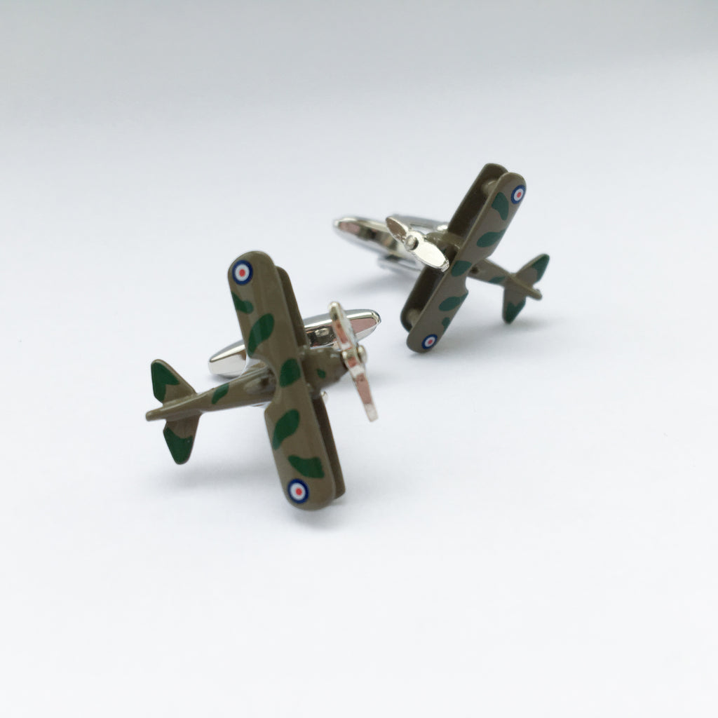 Camouflage Plane Cufflink (Movable)