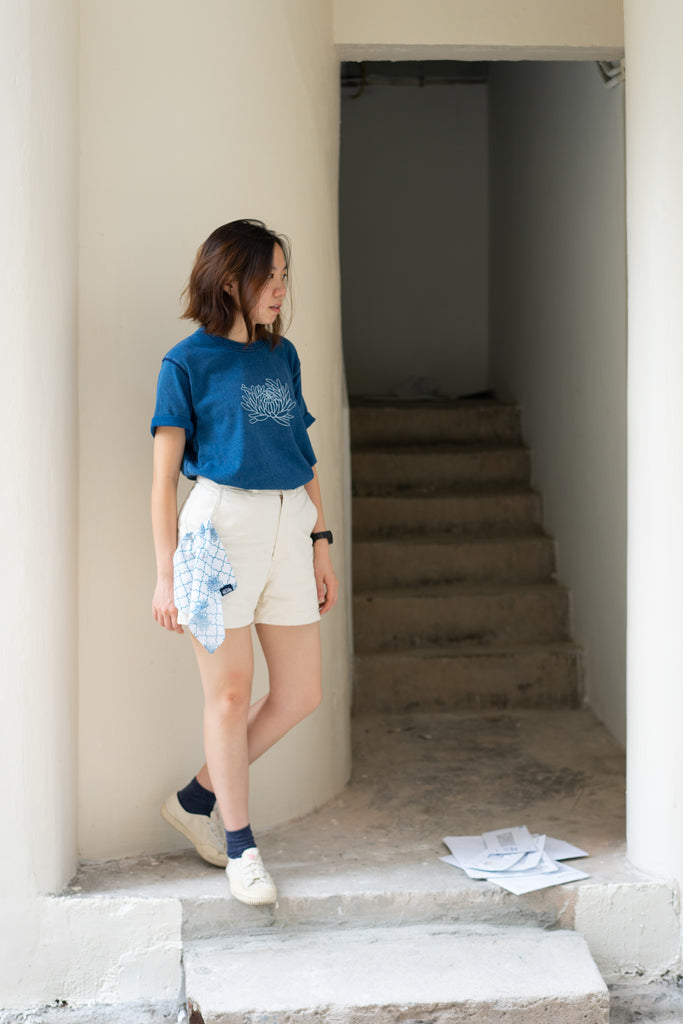 Natural Indigo Dye T-shirt (Light Blue)