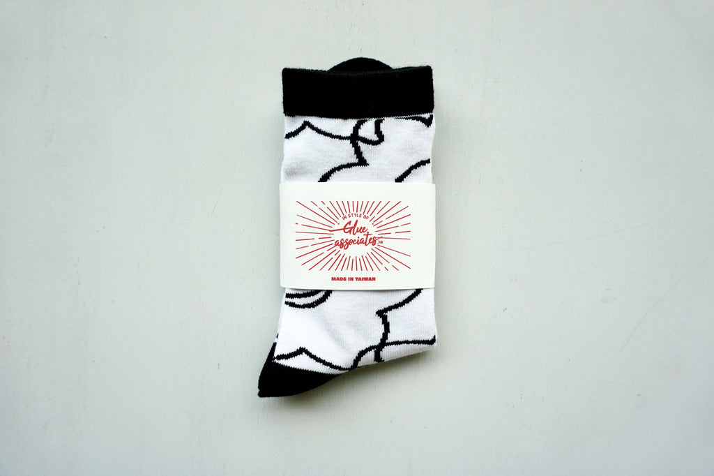 Floral Socks Daffodil Black / White