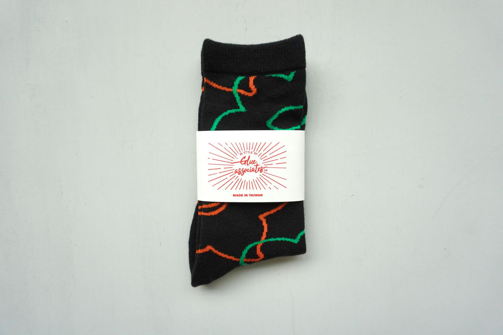 Floral Socks Daffodil Black / Orange / Green