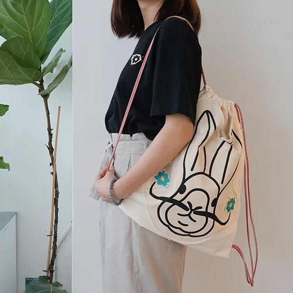 GLUE Handmade Salvador Dalì Rabbit Flower Embroidery Backpack