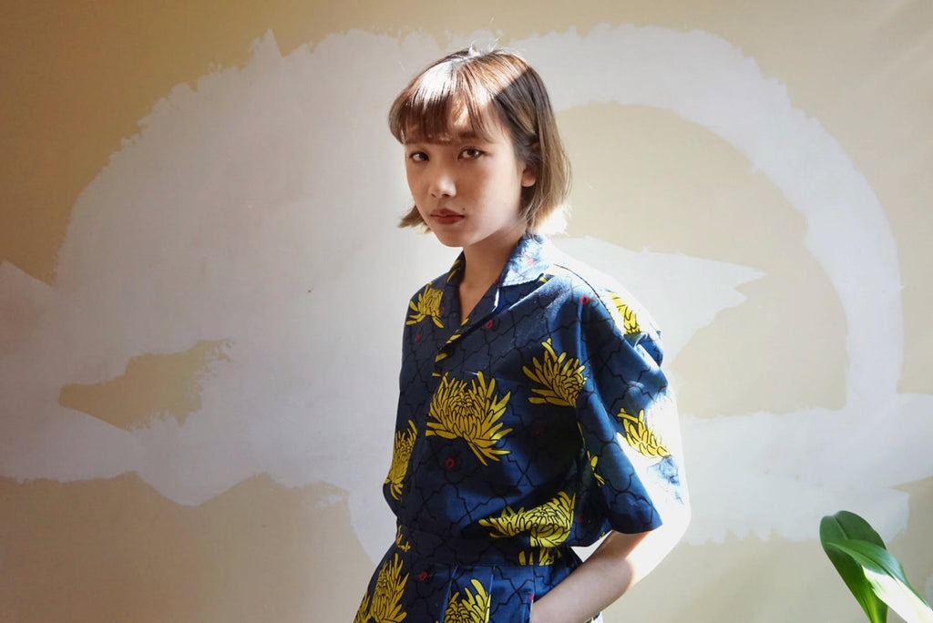 GLUE Original Pattern Shirt Jacket - Blue Chrysanthemum