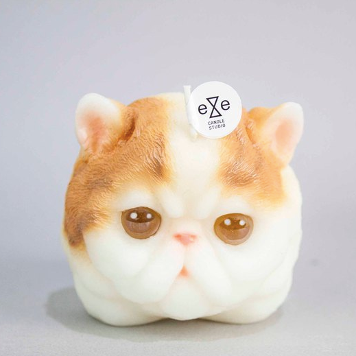 Persian Cat Candle- Orange/white