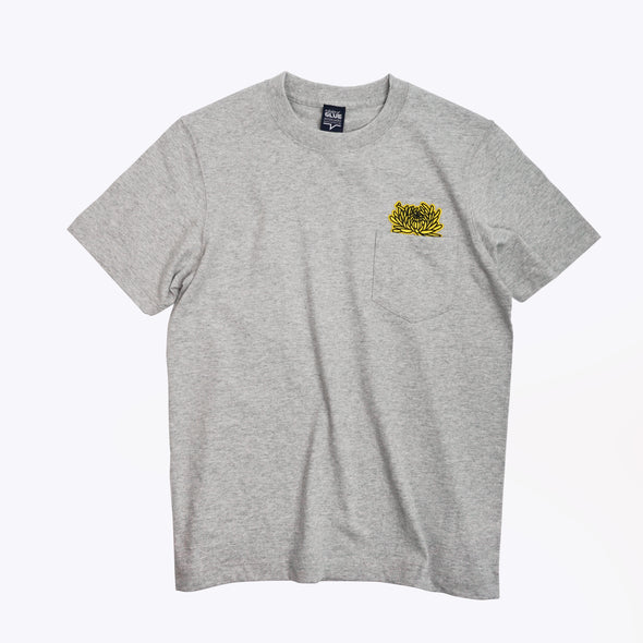 Seamless T-shirt with Pocket and Chrysanthemum Embroidery - Grey