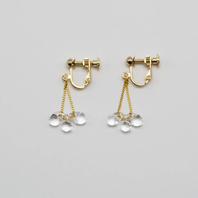 HARIO Handmade Jewellery- little Water Drop Ear Clips HAW-LT-003E
