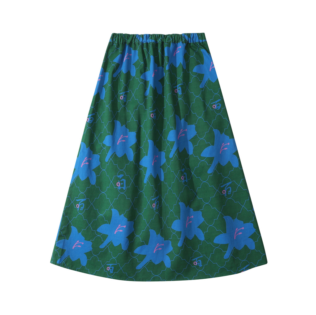 GLUE Original Pattern Long Skirt - Green Lily