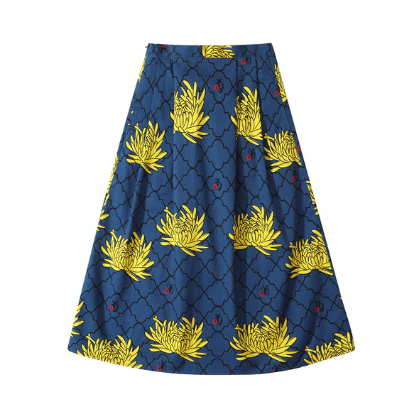 GLUE Original Pattern Long Skirt - Blue Chrysanthemum