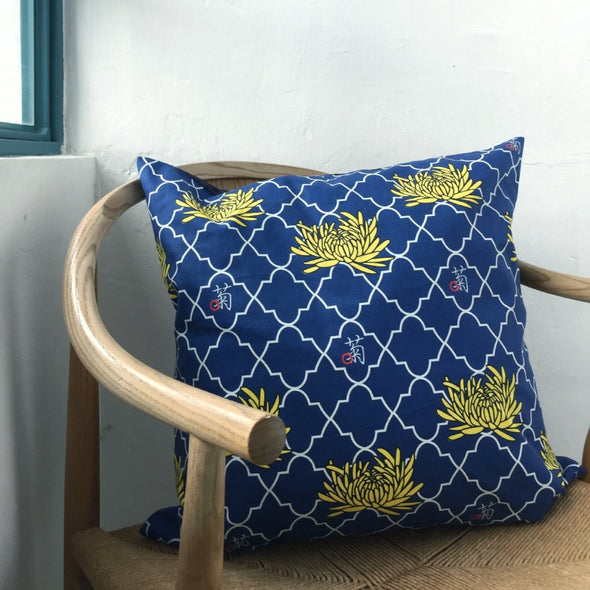 Chrysanthemum Denim Cushion with Pocket