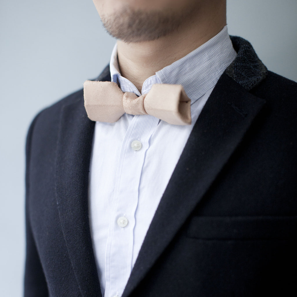 GreenRoom Geometrical Leather Bow Tie