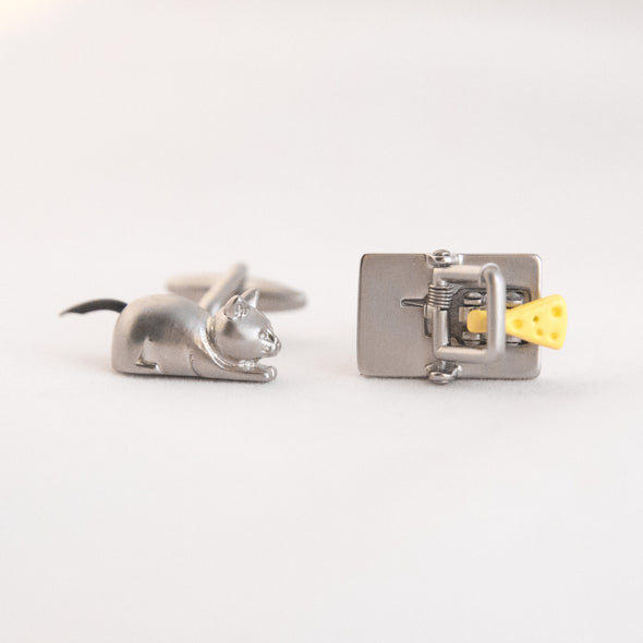 Cat and Mousetrap cufflink