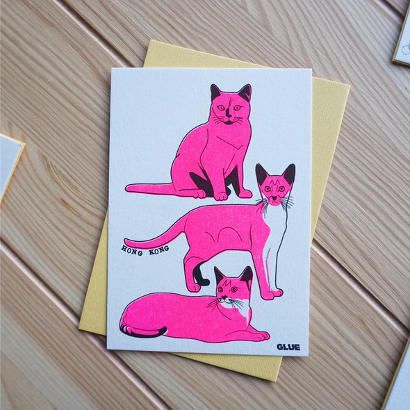 GLUE Riso Printed Card - Hong Kong Cats