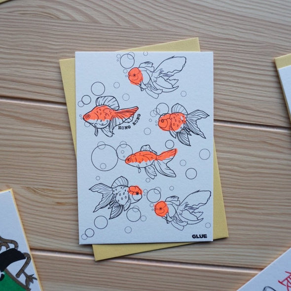 GLUE Riso Printed Gold Fish Card