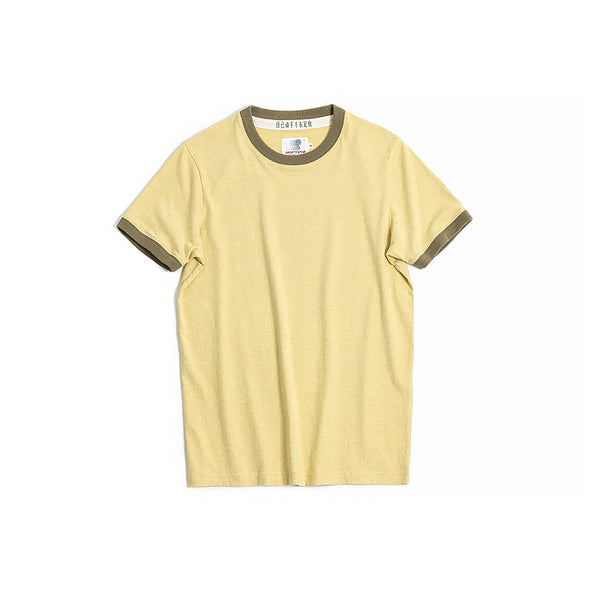 Vintage and Republic T-shirt - Plain T with highlighted Neck (Yellow)