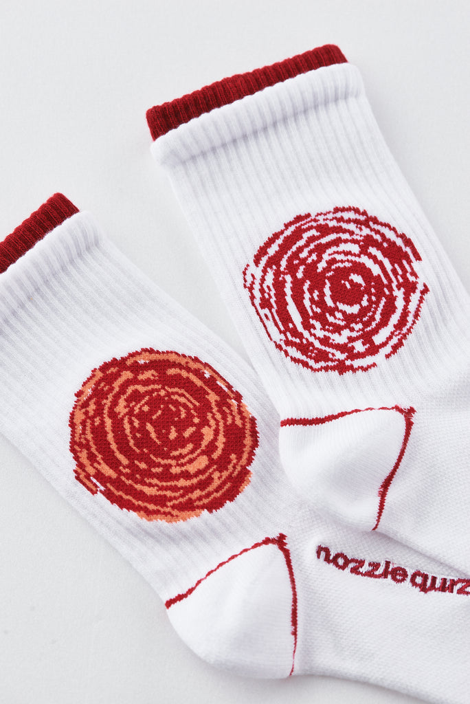Nozzle Quiz Socks - Flower (Red/White)