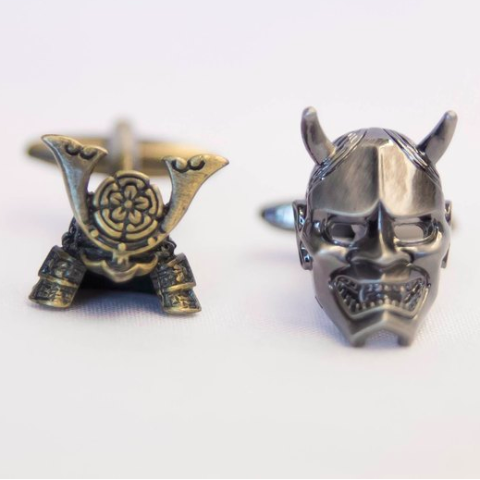 Designer cufflinks - samurai helmet and mask cufflink