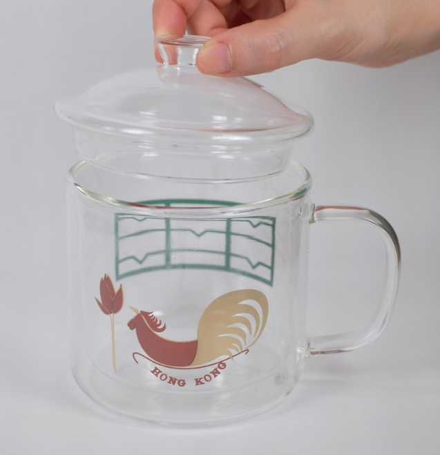 Heat Resistant Double Layer Glasses Mug - Cock with Old window