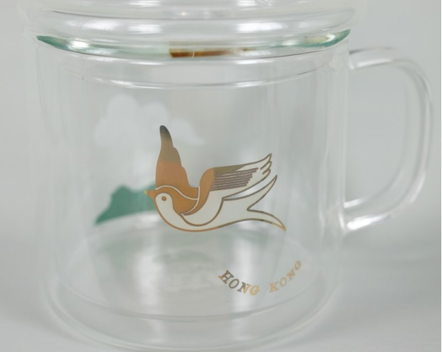 Heat Resistant Double Layer Glasses Mug - Swallow with Lion Rock
