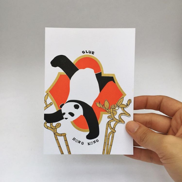 Hand made Silkcreen Panda Cards