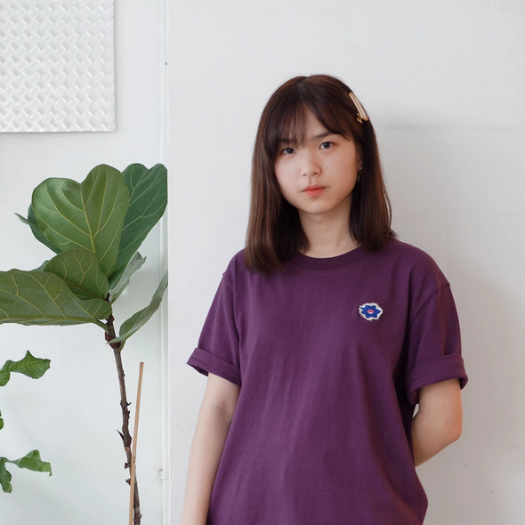 American Cotton T-shirt with flower embroidery -Purple