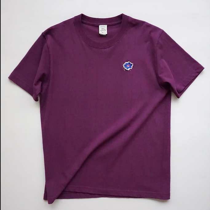 Glue Original T-shirt with flower embroidery -Purple