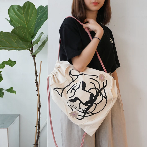 GLUE Handmade Tiger Dali Drawstring Bag