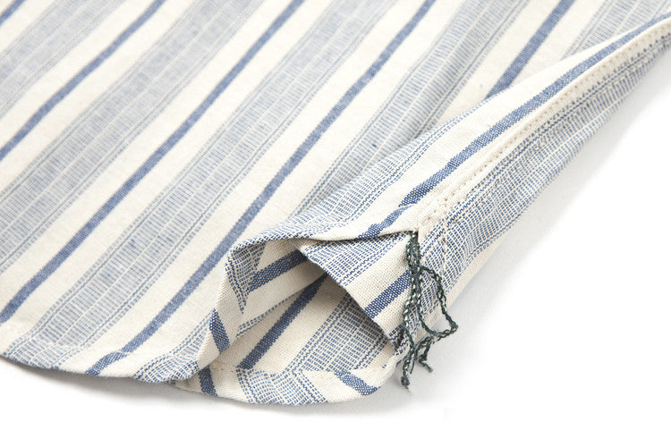 Made By Scrub - Shirt ( Cotton Light Blue Strip Vintage Fabric)