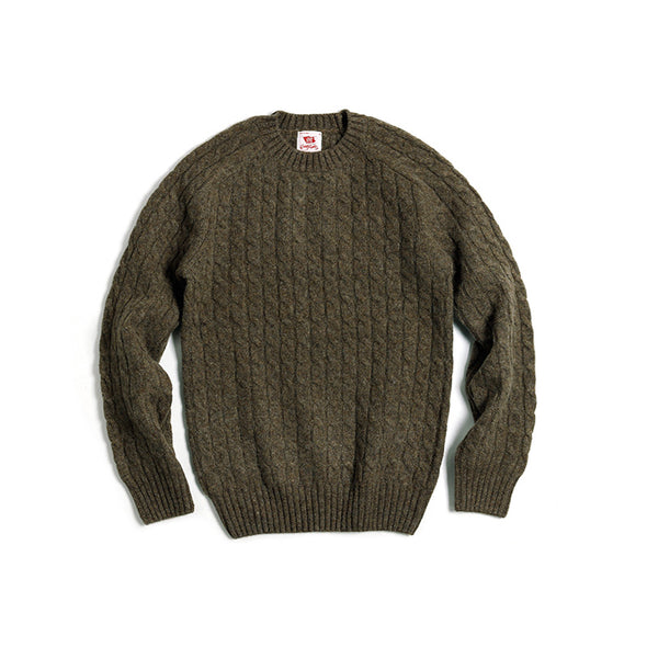 Vintage and Republic Shetland 100% Wool Vintage Twisted Crew Neck sweater