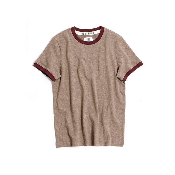 Vintage and Republic T-shirt - Plain T with highlighted Neck (Brown)