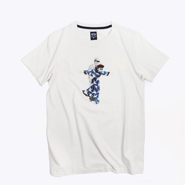Zishi x GLUE Organic Seamless Printed T-Shirt - Culture Exchange Blue