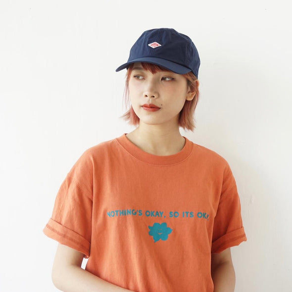"American cotton "" NOTHINGS OKAY, SO ITS OKAY "" Silkscreen Tee T-shirt - Orange"
