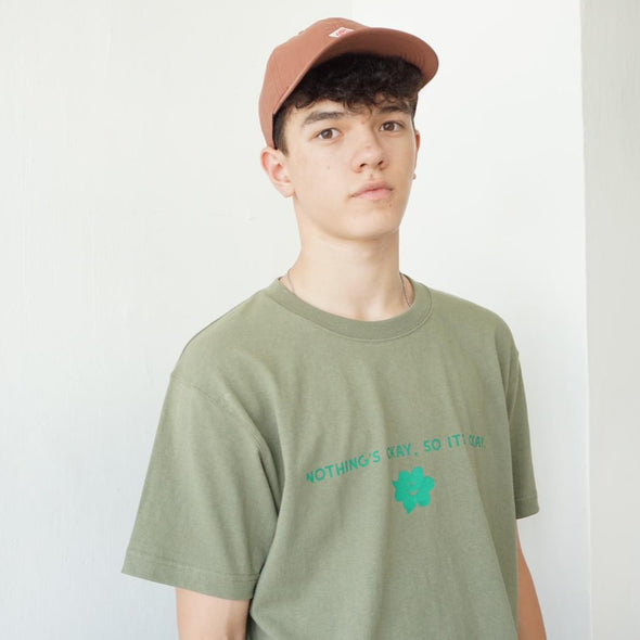 "American cotton "" NOTHING'S OKAY, SO ITS OKAY"" Silkscreen Tee T-shirt - Olive Green"