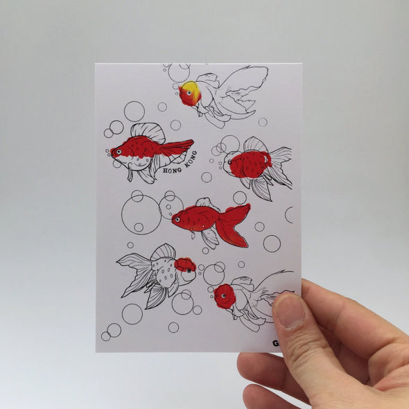 Hand Printed Gold Fish Card
