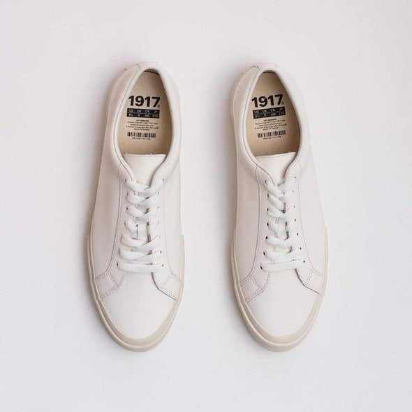 Handmade white leather sneaker