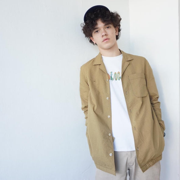 [Incense Harbour] Texture shirt jacket Olive