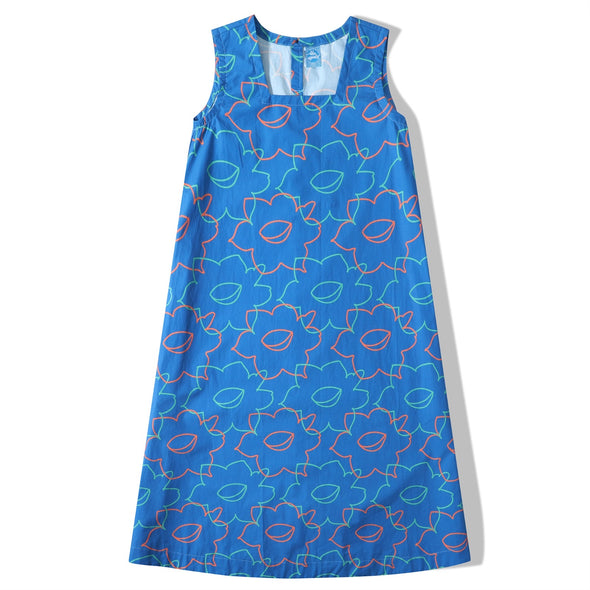 Glue Original Pattern - Blue Daffodil Poplin Dress