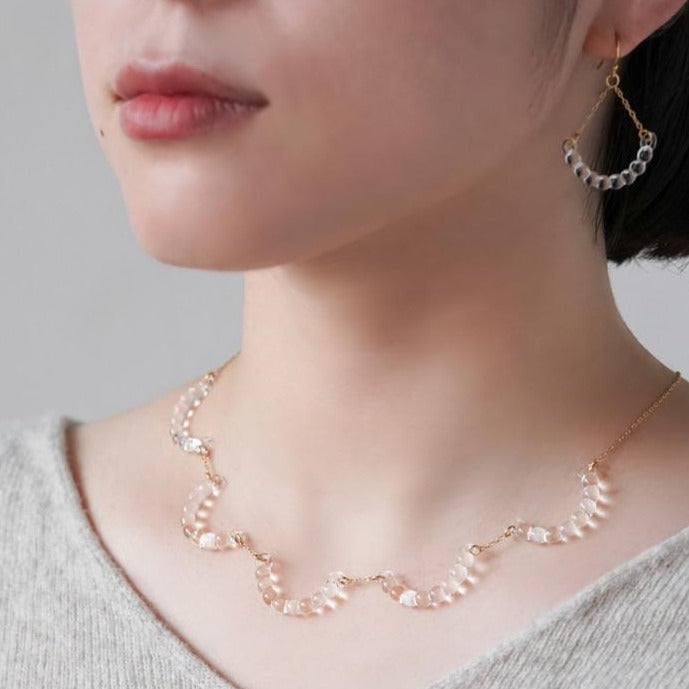 HARIO Handmade Jewelry- Water Drop Semi-rings Necklace